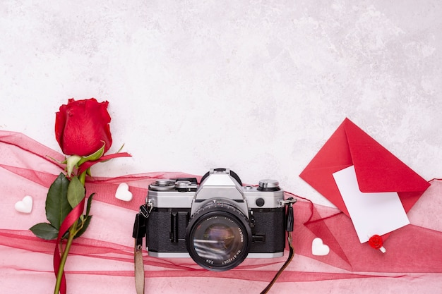 Top view decoration with camera and rose