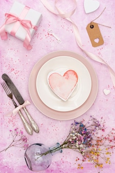 Top view decoration with heart shaped cookie