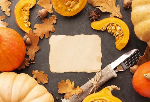 Top view decoration with pumpkins and pie