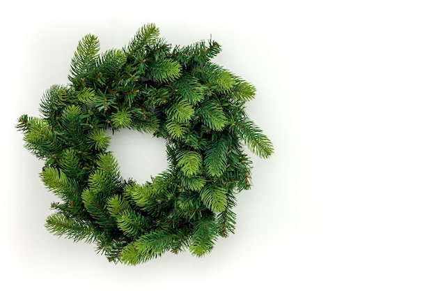 Top view of decorative festive christmas wreath isolated
