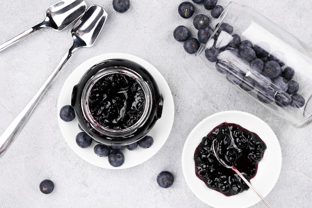 Top view delicious blueberry jam
