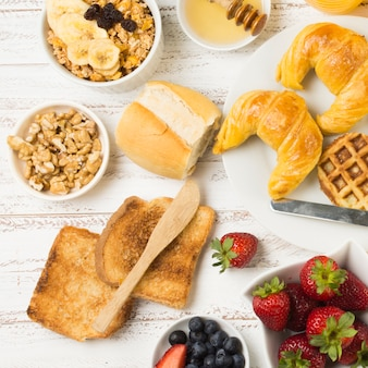 Top view delicious breakfast