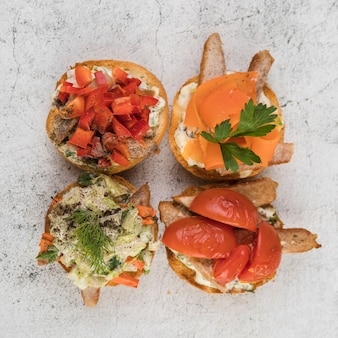 Top view delicious bruschettas on table