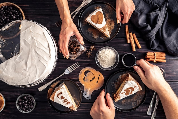 Top view of delicious cake on wooden table