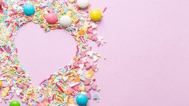 Vista dall'alto del concetto di deliziose caramelle