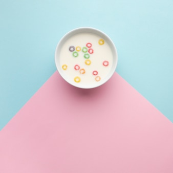 Top view delicious cereal bowl