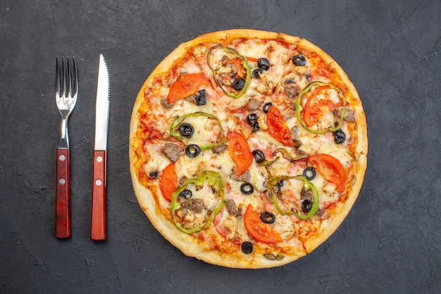 Top view delicious cheese pizza with olives pepper and tomatoes on dark surface