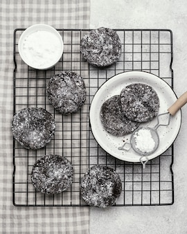 Top view of delicious chocolate cookies