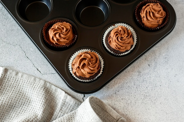 Top view of delicious chocolate cupcakes
