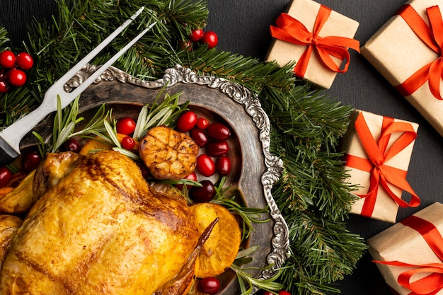 Вид сверху вкусное рождественское блюдо