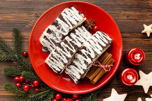 Вид сверху вкусный рождественский набор блюд