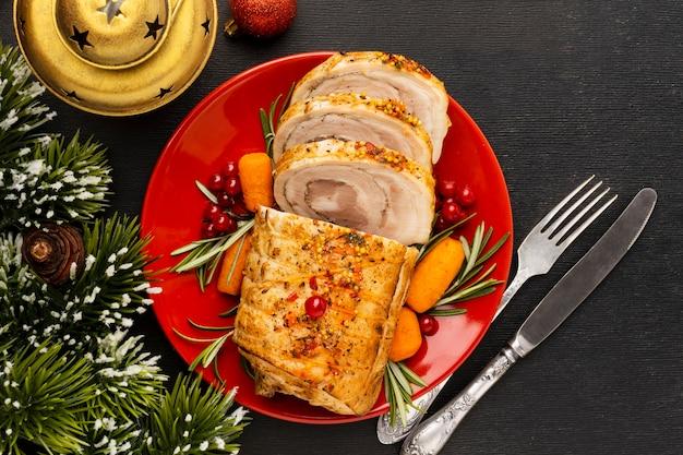 Вид сверху вкусное рождественское блюдо композиция