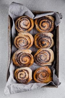 Top view of delicious cinnamon rolls concept
