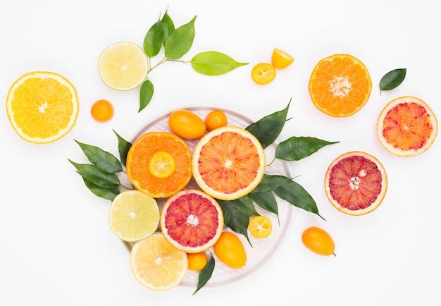 과일의 상위 뷰 맛있는 컬렉션