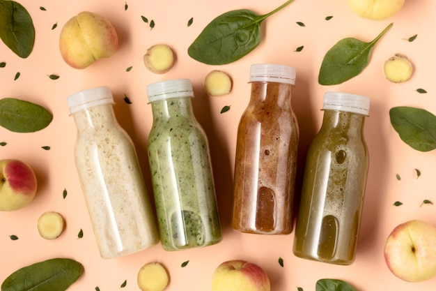 Top view delicious detox drinks