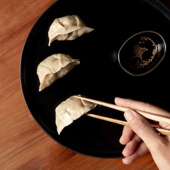 Top view of delicious dumplings concept