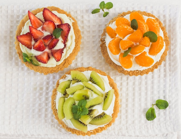Top view delicious fruit tart