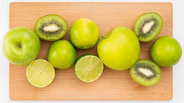 Vista dall'alto deliziosi frutti verdi