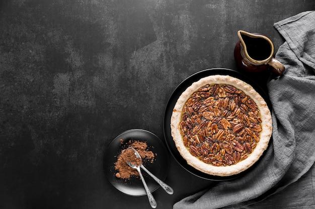 Top view delicious handmade pecan pie