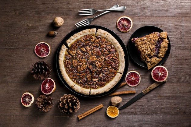 Top view delicious homemade pecan pie