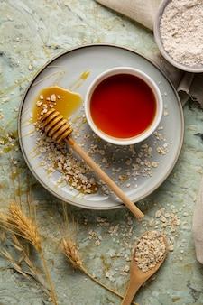Вид сверху вкусный мед