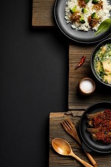 Top view delicious indonesian bakso