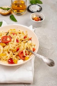 Top view of delicious italian pasta