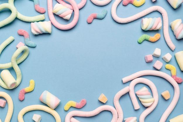 Vista dall'alto del delizioso arrangiamento di gelatina