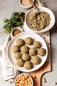Top view delicious jewish food arrangement