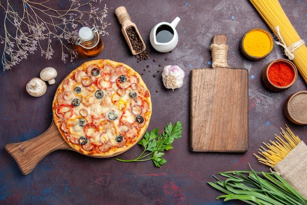 Top view delicious mushroom pizza with cheese and olives on dark surface meal dough snack pizza italian