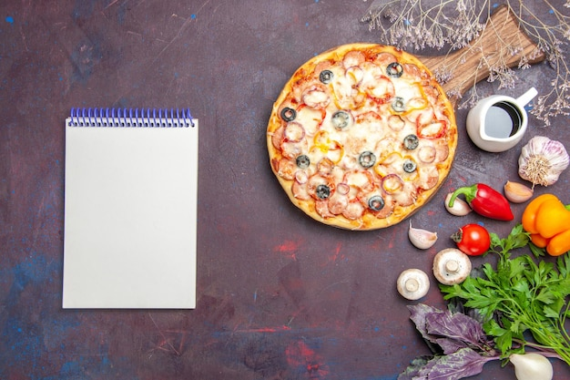 Top view delicious mushroom pizza with cheese olives and seasonings on dark desk dough pizza meal italian food