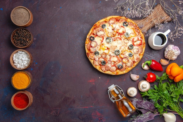 Top view delicious mushroom pizza with cheese olives and seasonings on a dark surface pizza meal italian food dough snack