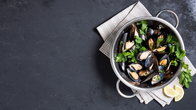 Top view delicious mussels with parsley