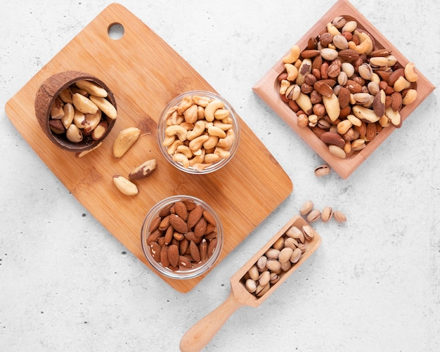 Top view of delicious nuts arrangement