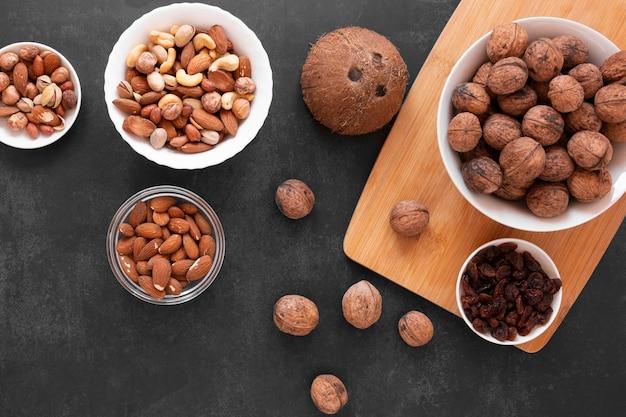 Top view of delicious nuts arrangement