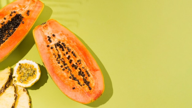 Top view delicious papaya fruit with copy space