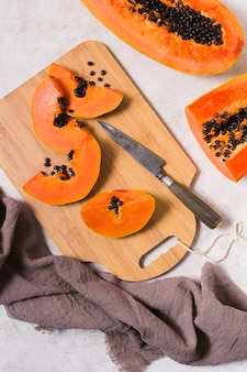 Top view delicious papaya ready to be served