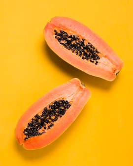 Top view delicious papayas ready to be served