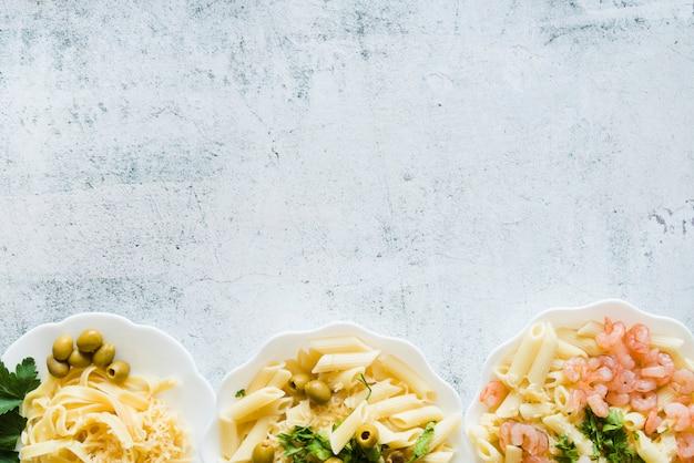 Top view delicious pasta dish line