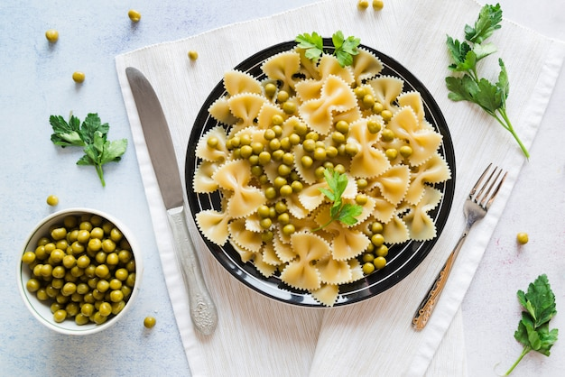 Top view delicious pasta dish
