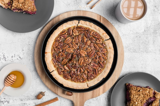 Top view delicious pecan pie ready to be served
