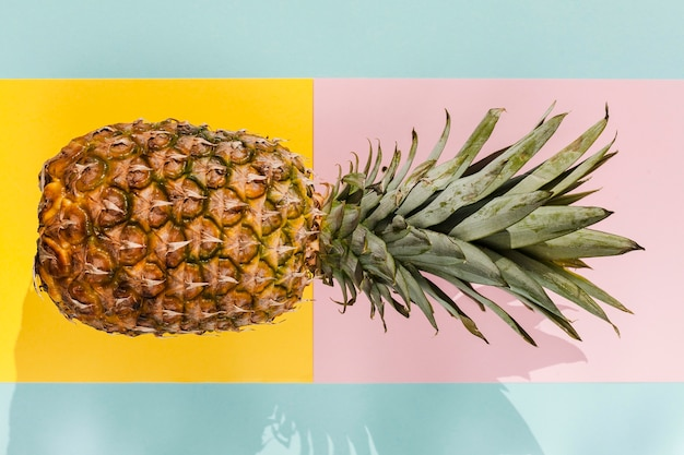 Top view delicious pineapple