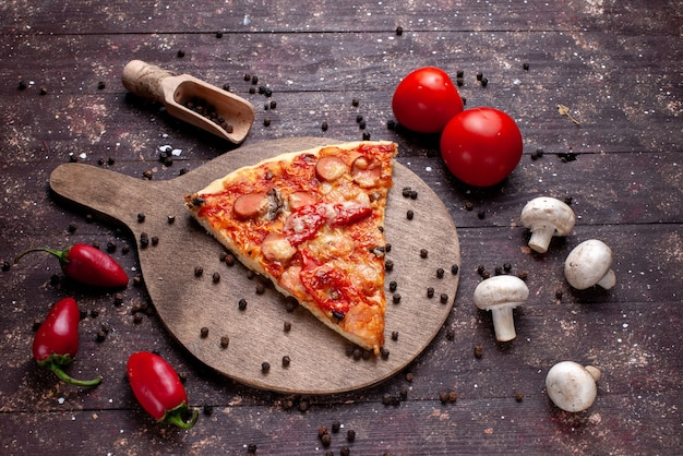 Top view of delicious pizza slice with fresh mushrooms tomatoes red peppers on brown desk, food meal fast food vegetable
