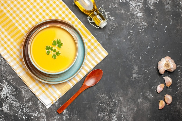 Top view of delicious pumpkin soup in a bowl