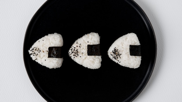 Top view of delicious rice balls