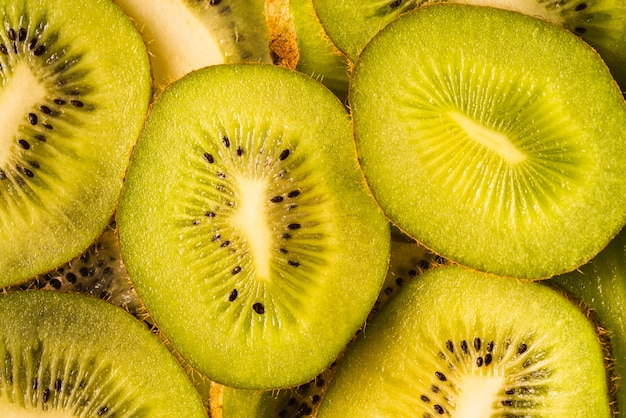 Top view delicious sliced kiwi fruit