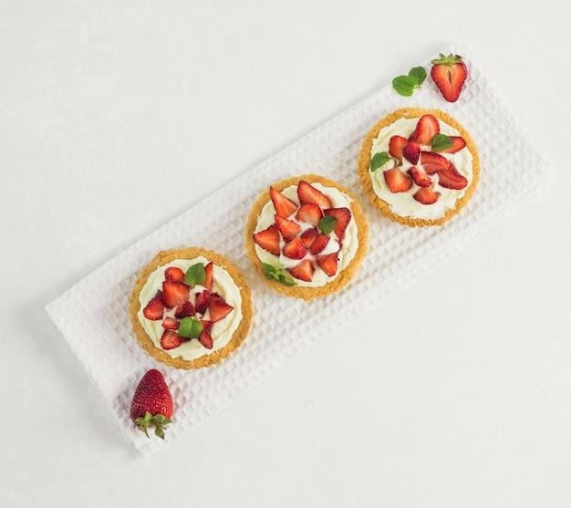 Top view delicious strawberry tart diagonal