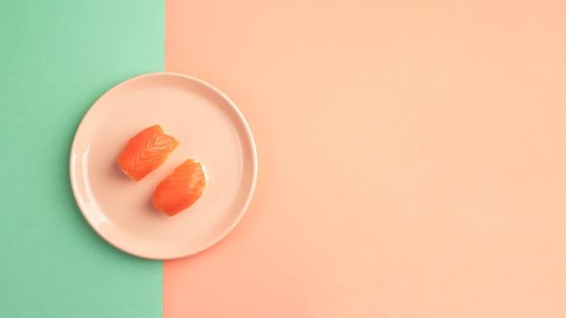 Вид сверху вкусная композиция для суши