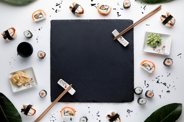 Top view of delicious sushi concept