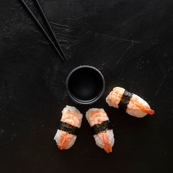 Top view of delicious sushi with copy space